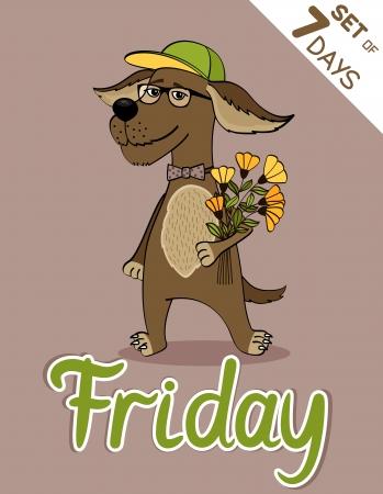 weekdays: Friday, weekdays hipster vector illustration calendar set