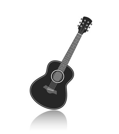 guitar neck: Acoustic guitar symbol monochrome vector illustration
