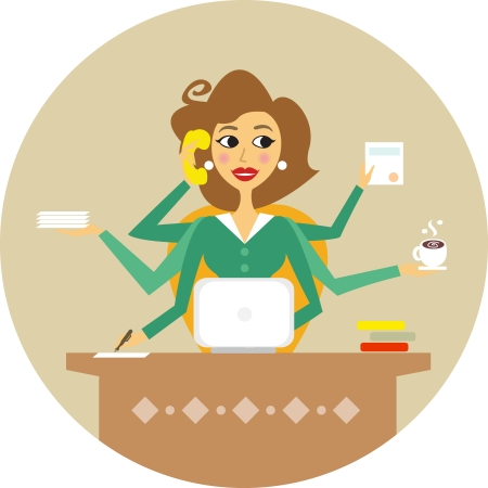 donna con telefono: Assistente personale o il disco segretario di lavoro simbolo illustrazione vettoriale Vettoriali