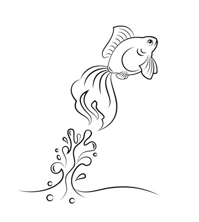 goldfish jump: Goldfish figure jumping from water vector illustration