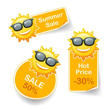 bargaining: Smiling sun sunglasses discount pricetags vector illustration