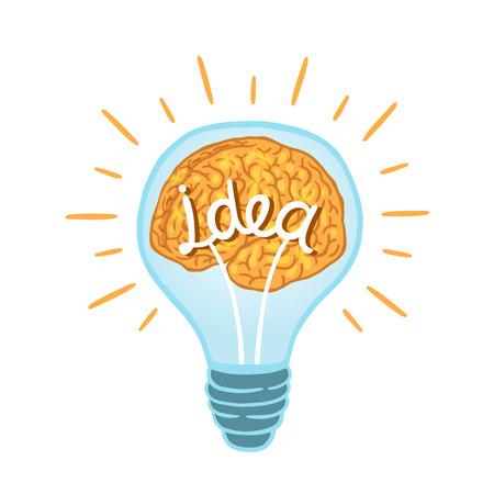 brain power: Creative light bulb with brain isolated vector illustration Illustration