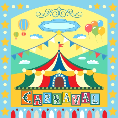 Colorful carnival poster or card template vector illustration Vector