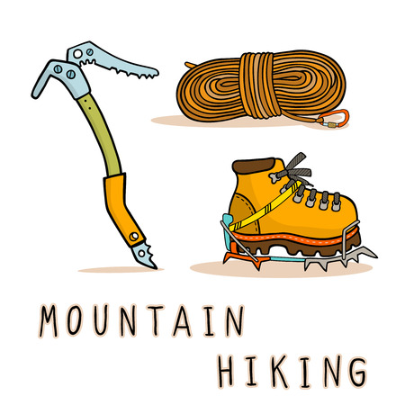 pick ax: Mountain hiking equipment icons set vector illustration