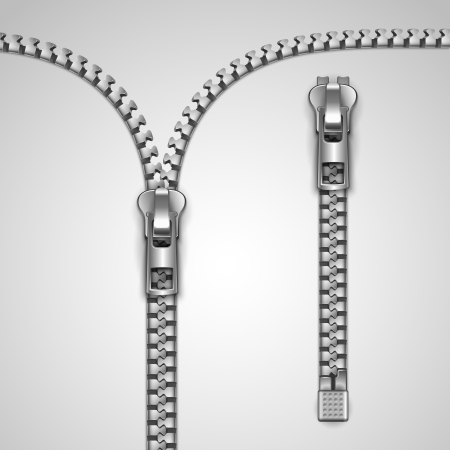 unzip: Metal realistic zipper template vector illustration Illustration