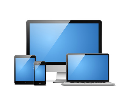Notebook, tablet, desktop and mobile. Electronic devices templates vector illustration Vector