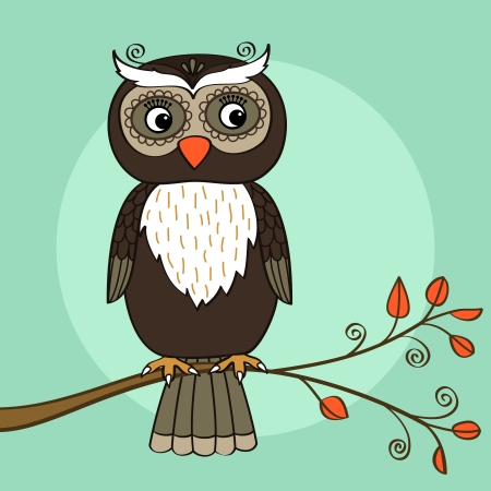 talons: Owl on tree branch with leaves vector illustration