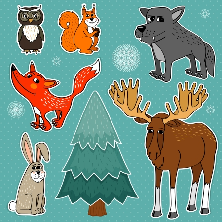 winter forest: Winter forest cute animals set vector illustration