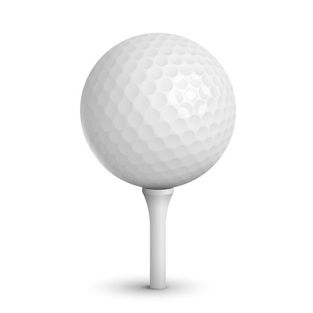Golf ball on white tee realistic vector illustration isolated Vector