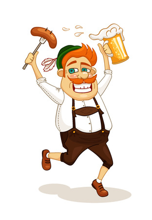 beer belly: Beer party man with sausage and beer vector illustration