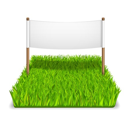 Green grass sign realistic isolated vector illustration Illustration
