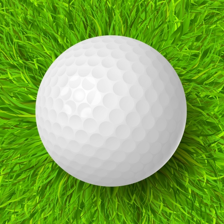 golf field: Golf ball on the green grass realistic vector illustration