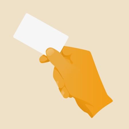carte de visite vierge: Tenant la main en blanc vecteur de mod�le de carte d'affaires illustration