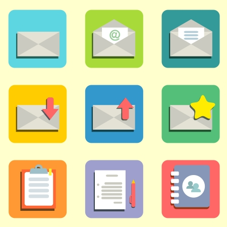 unread: Email flat icons set for design vector illustration