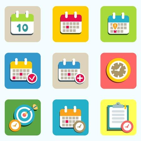 Kalender vlakke pictogrammen instellen voor ontwerp vector illustratie Vector Illustratie