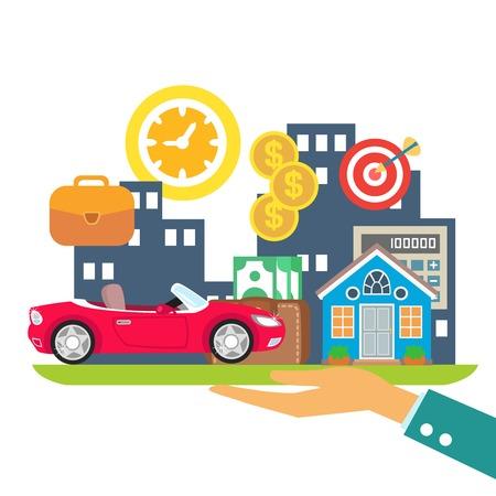 fondos negocios: Estilo de vida del crédito, leasing e hipotecas colores concepto ilustración vectorial