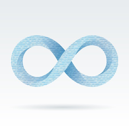infinite symbol: Digital infinity or eternity symbol vector illustration isolated