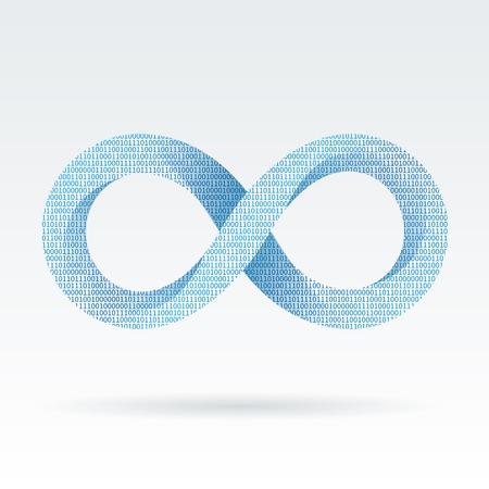 infinito simbolo: Infinity Digital o la eternidad símbolo ilustración vectorial aislados Vectores