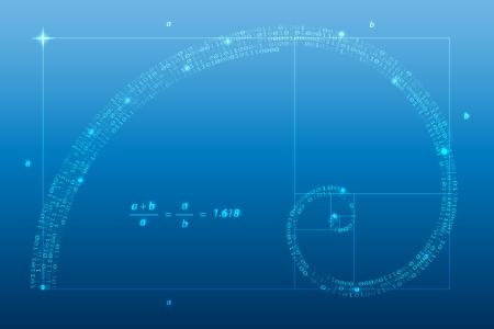 fibonacci number: Digital golden ratio, spiral symbol vector illustration