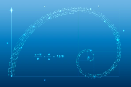 golden ratio: Nombre d'or numérique, spirale illustration vectorielle de symbole