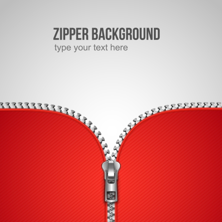 zip: Unfastened zipper background realistic template vector illustration Illustration