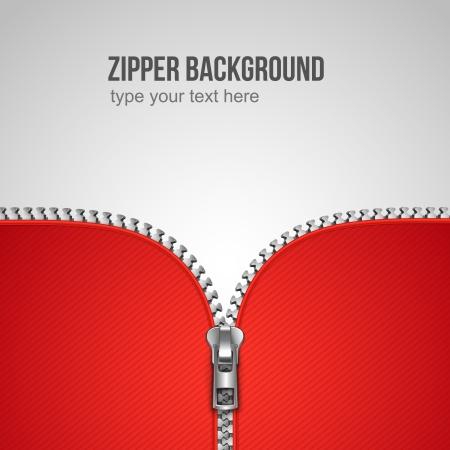 zipper: Unfastened zipper background realistic template vector illustration Illustration