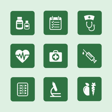 Set of flat health or medical icons vector illustration isolated Vector