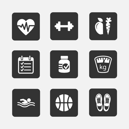barbel: Set of flat fitness icons vector illustration isolated