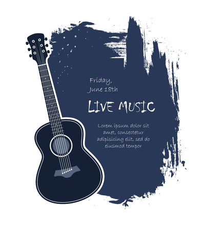 Acoustic guitar live music banner template vector illustration Çizim