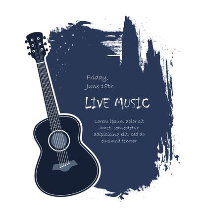 guitarra acustica: Guitarra acústica en vivo de música bandera plantilla de ilustración vectorial Vectores