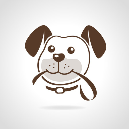 dog leash: Dog head with leash icon vector illustration