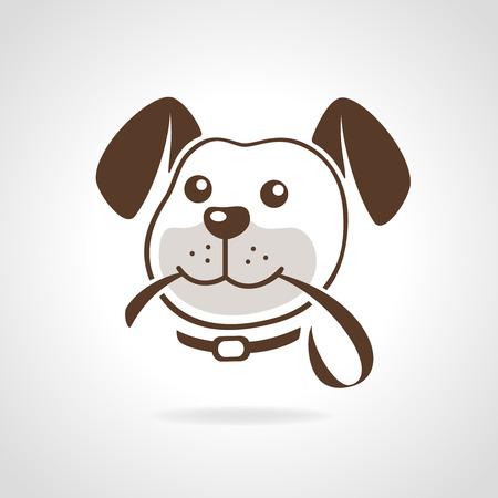 leash: Dog head with leash icon vector illustration