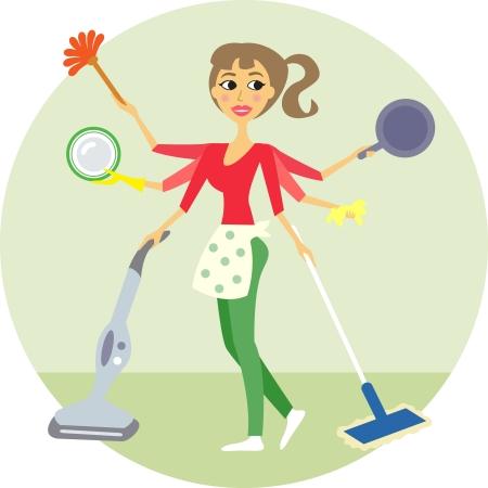 Hausfrau in allen Gassen, Waschen und Reinigen Vektor-Illustration Vektorgrafik