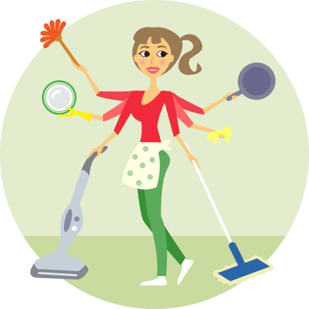 vacuum: Housewife of all trades, washing and cleaning vector illustration Illustration