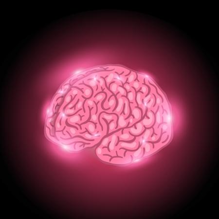 impulses: Glowing thinking brain in the dark vector illustration Illustration
