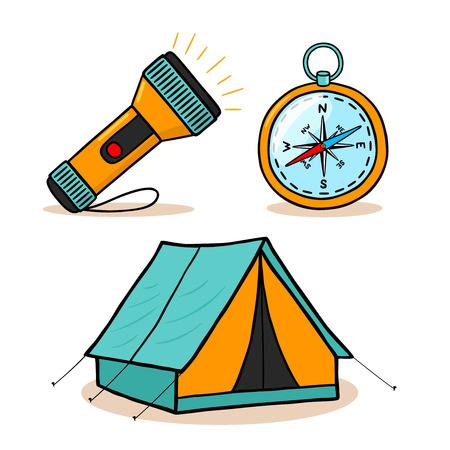 Mountain hiking equipment icons set vector illustration Vector