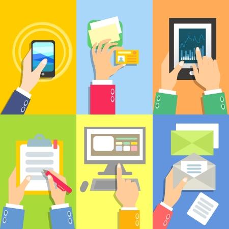 Set van het bedrijfsleven de handen met zakelijke objecten vector illustratie