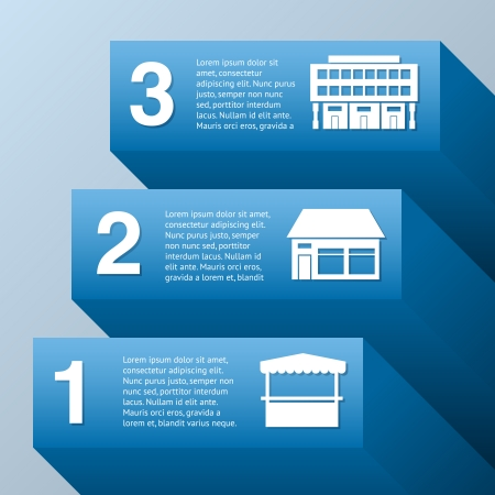 barchart: Growing business infographic set with commercial buildings vector illustration
