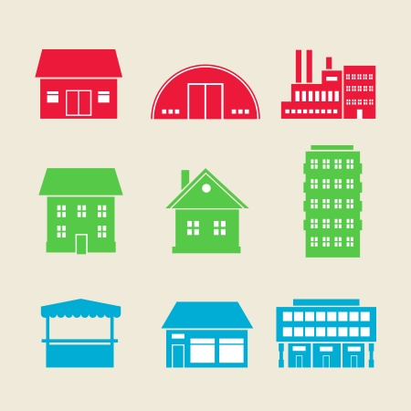 commercial construction: Set of commercial, residential and industrial building icons vector illustration