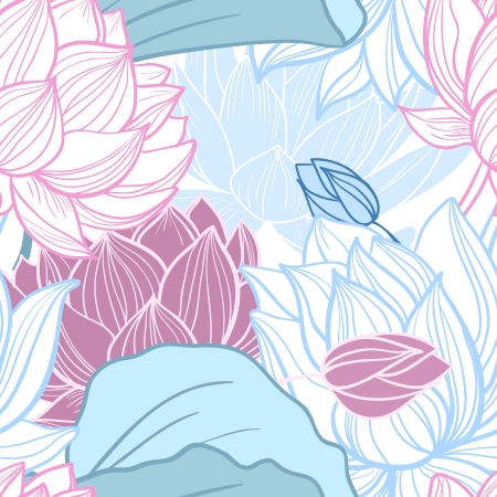 Gentle lotus flowers seamless pattern vector illustration Vector