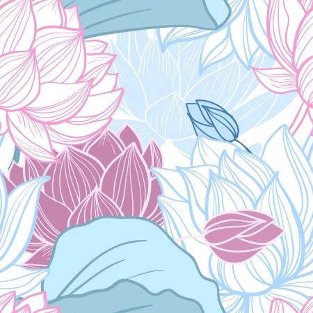 Gentle lotus flowers seamless pattern vector illustration