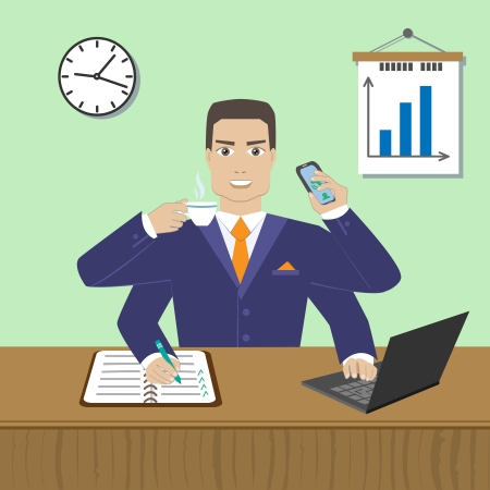 effective: Effective busy multitasking employee concept vector illustration Illustration