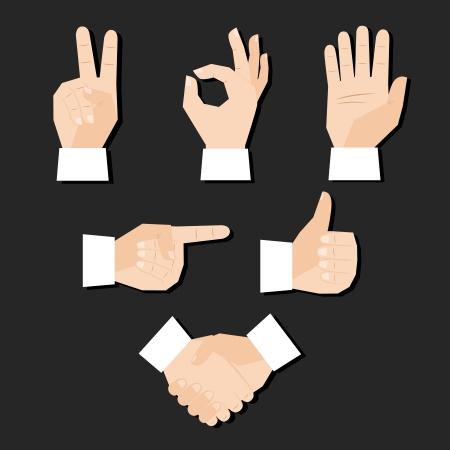 two point: Set of hands gestures vector illustration Illustration