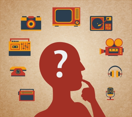 thoughtfulness: Difficult choice, silhouette of the head and media icons vector illustration