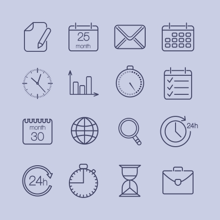 pace: Business time is money icons set vector illustration