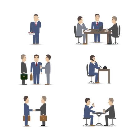 negotiations: Business negotiations scenes set vector illustration
