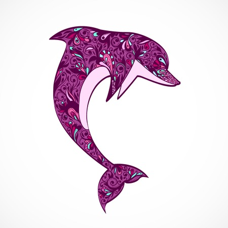 dolphin jumping: Dolphin jumping icon isolated vector illustration