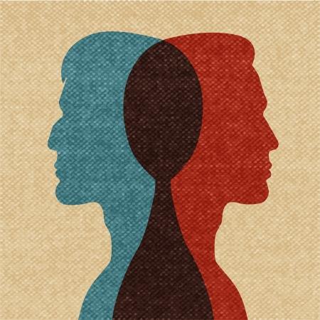 Meilleurs amis silhouettes illustration vectorielle Banque d'images - 23477004