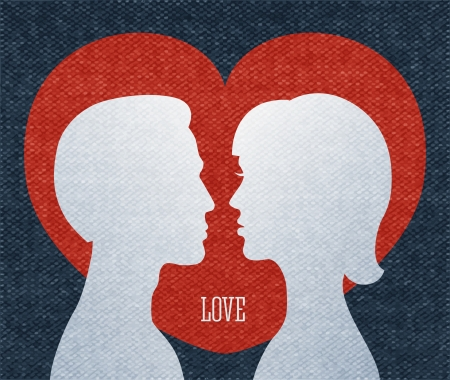 Love couple silhouettes, heart background vector illustration Vector