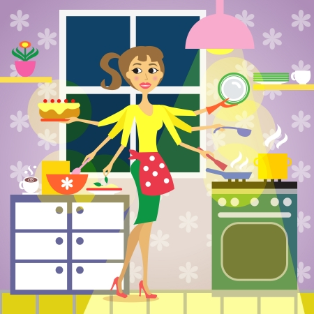 multitasking: Woman in the kitchen, cooking vector illustration